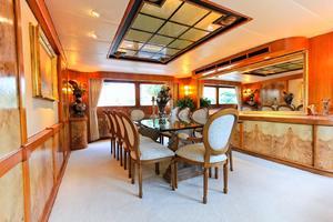 121' Denison Raised Bridge Cockpit Motor Yacht 1986 Formal Dining Salon