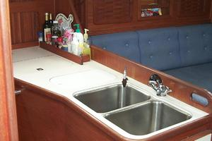 38' Sabre 38 MKII 1989 Galley with double sinks and generous counter space