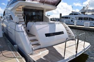 64' Princess Flybridge 2011 Dockside, removable safety rails on platform