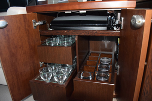 64' Princess Flybridge 2011 Storage in Salon