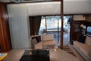 64' Princess Flybridge 2011 Curtain separating Galley and Salon