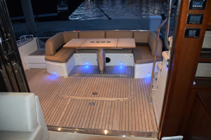 64' Princess Flybridge 2011 Aft view Salon doors opened