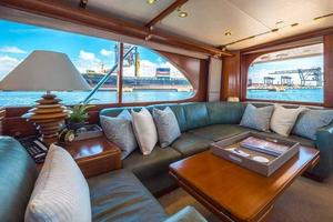 87' Feadship Yacht Fisherman 1985 Salon Settee Looking Aft