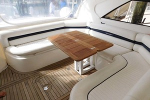 50' Sunseeker Camargue Hard Top with Sunroof 2002 Seating with Table Open