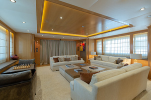 147' Sunrise  2014 Main Salon looking Aft