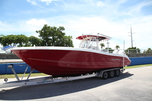 34' Hydra-Sports 3400 CC 2012 Port Bow on the Trailer