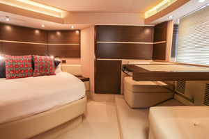 54' Azimut Flybridge 2014 Owners Suite with Vanity and Settee