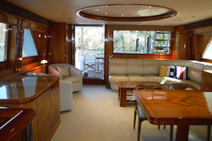 82' Hargrave Flybridge Motor Yacht 2001 Salon Looking Aft