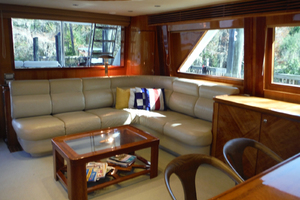 82' Hargrave Flybridge Motor Yacht 2001 Salon Looking Aft to Starboard