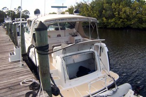 35' Tiara Express 2001 Stern View with Trunk Open