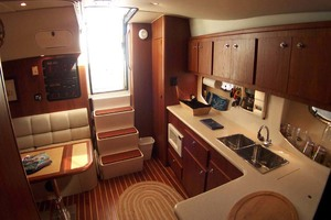 35' Tiara Express 2001 View from Master Stateroom to Aft in Cabin