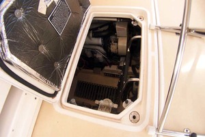 35' Tiara Express 2001 Opening Engine Hatch for Day Checks
