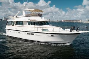 54' Hatteras 54 Motor Yacht 1988 Stbd Profile at Rest