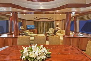 119' Crescent Rph Euro Transom 2004 Dining Salon Looking Aft