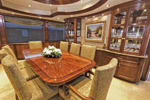 119' Crescent Rph Euro Transom 2004 Dining Salon Looking to Starboard