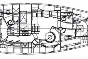 58' Tayana 58 Deck Saloon 2006 Interior layout drawing