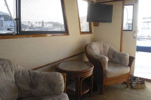 35' Californian Convertible 1985 Starboard Salon Looking Aft