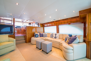 64' Hatteras Flybridge Motoryacht 2008 Salon Looking Forward to Starboard