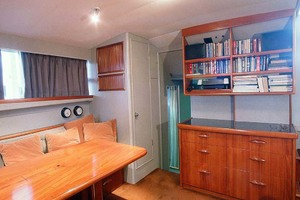 53' Rybovich Yacht Fish 1963 Salon with Built-In Bookshelf