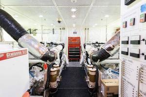 103' Westport West Bay 2000 Engine Room - Looking Forward