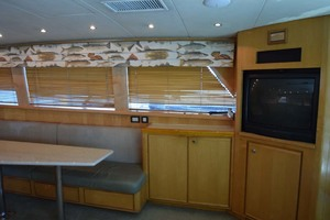 60' Bertram 60 Convertible 1998 Salon and Dinner Table View to Starboard