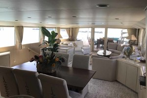 105' Broward Custom Extended 1990 Dining Area Looking Aft