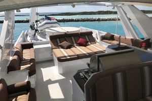 105' Broward Custom Extended 1990 Flybridge Looking Aft