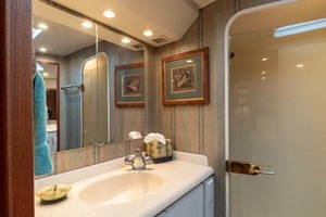 61' Viking Convertible 2002 Master Stateroom Shower and Vanity