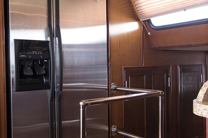 55' Gibson 5500 2005 Refrigerator in the galley