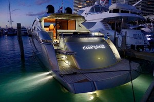 72' Pershing  2008 Port Aft Quarter At Night
