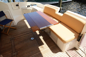 43' Azimut Flybridge Motor Yacht 2007 Aft Deck with collapsible table open