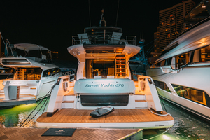67' Ferretti Yachts 670 2019 Aft at night