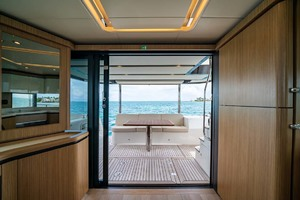 52' Absolute 52 Navetta 2017 Salon Looking Aft