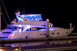 59' Marquis Flybridge Motor Yacht 2004 Starboard View at Night