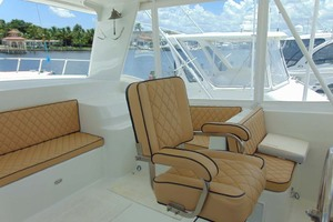 47' Atlantic Motor Yacht 1988 Flybridge Aft View