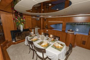 82' Monte Fino Widebody Skylounge 2001 Dining Area Looking to Starboard