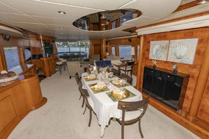 82' Monte Fino Widebody Skylounge 2001 Dining Area Looking Aft
