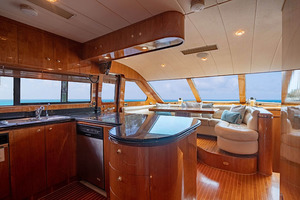 82' Horizon Flybridge Motor Yacht 2001 Galley and Dinette Looking Forward