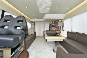 55' Prestige 550 Flybridge 2016 Aft Salon View
