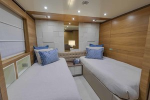 108' Alloy Yachts  1992 Portside Guest Cabin Looking Forward