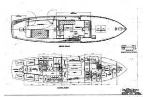 50' Elco Deckhouse Motoryacht 1928 Deck and Cabin Layouts