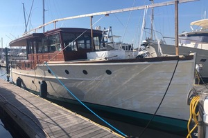 50' Elco Deckhouse Motoryacht 1928 Stbd At Dock Prior to Winter Cover Installation