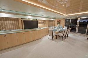103' Johnson Raised Pilothouse 2008 Salon Looking Aft to Starboard
