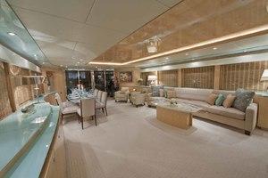 103' Johnson Raised Pilothouse 2008 Salon Looking Aft to Port