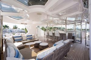 Sun Deck seating with wind break panels