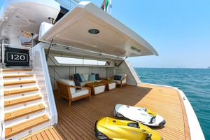 MAJESTY 120 is a Majesty Yachts Raised Pilothouse Yacht For Sale-Beach Club-1