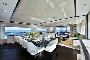 MAJESTY 120 is a Majesty Yachts Raised Pilothouse Yacht For Sale-Dining-7