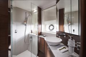 S66 Interior Forward Cabin Bathroom Walnut Satin
