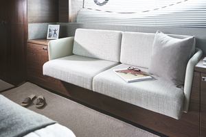 S66 Interior Owners Stateroom Sofa Walnut Satin