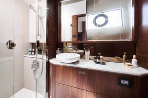 S62 Interior Owners Stateroom Bathroom Walnut Satin